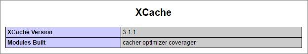 В phpinfo появилась информация о поддержке xCache