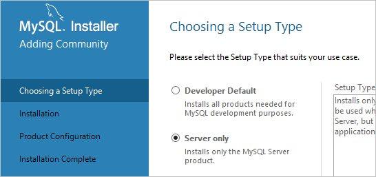 Выбираем установку сервера MySQL