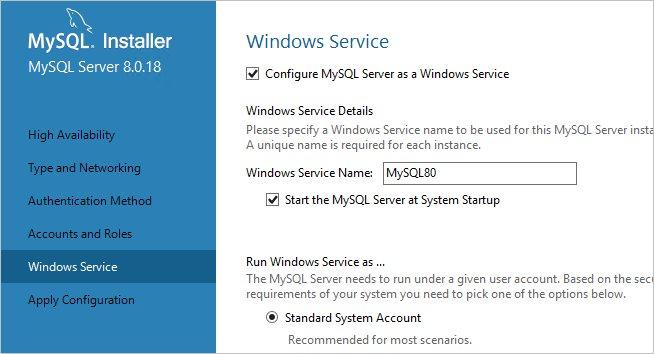 Установка MySQL в качестве службы Windows