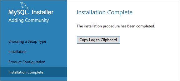 Установка MySQl на Windows выполнена успешно