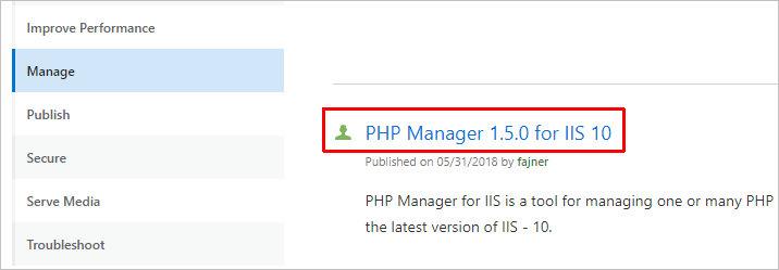 Скачиваем PHP Manager для IIS