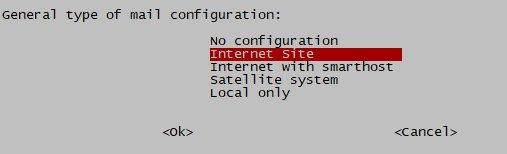 В процессе установки в окне Postfix Configuration выбираем Internet Site