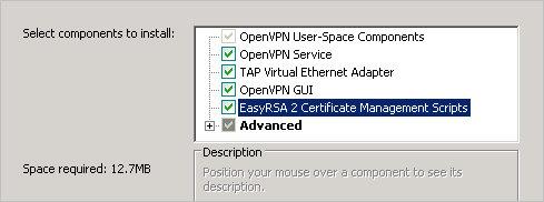 Во время установки, ставим галочку OpenVPN RSA Certificate Management Scripts