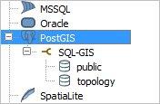 В ветке PostGIS видим схемы