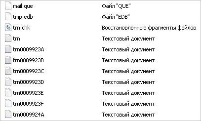 Список файлов в папке с очередями Exchange
