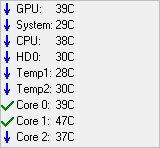 Показатели температурных датчиков в программе SpeedFan