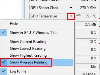 Режим отображения информации о температуре видеокарты