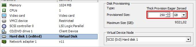 Добавление дискового пространства виртуальной машине в VMware