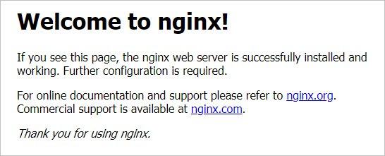 Окно приветствия NGINX