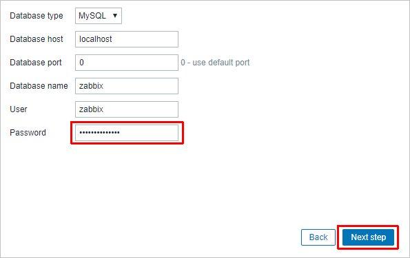 Вводим пароль для пользователя Zabbix